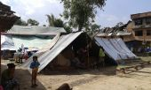 Temporary shelter for earthquake affected people at Bungamati